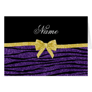 Custom name purple glitter zebra stripes gold bow greeting card