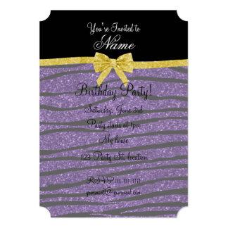 "Custom name purple glitter zebra stripes gold bow 5"" x 7"" invitation card"