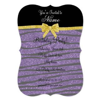 Custom name purple glitter zebra stripes gold bow 5x7 paper invitation card