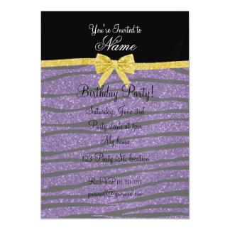 Custom name purple glitter zebra stripes gold bow magnetic invitations