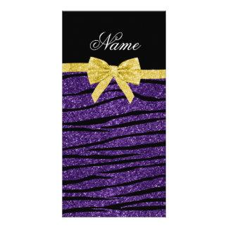 Custom name purple glitter zebra stripes gold bow picture card