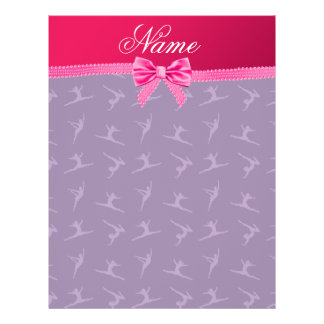 Custom name purple gymnastics pink bow personalized flyer