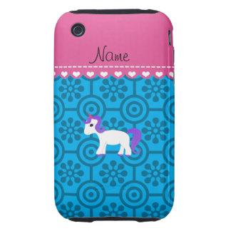 Custom name purple hair unicorn blue retro flowers iPhone 3 tough cases