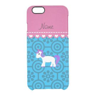 Custom name purple hair unicorn blue retro flowers uncommon clearly™ deflector iPhone 6 case