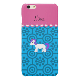 Custom name purple hair unicorn blue retro flowers glossy iPhone 6 plus case