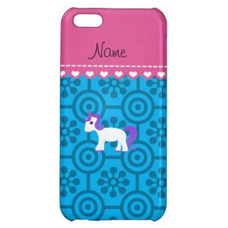 Custom name purple hair unicorn blue retro flowers iPhone 5C case