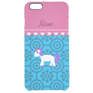 Custom name purple hair unicorn blue retro flowers uncommon clearly™ deflector iPhone 6 plus case