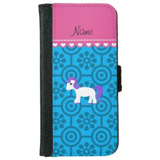 Custom name purple hair unicorn blue retro flowers iPhone 6 wallet case
