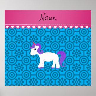 Custom name purple hair unicorn blue retro flowers poster