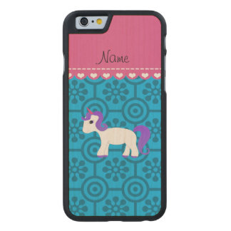 Custom name purple hair unicorn blue retro flowers carved® maple iPhone 6 case