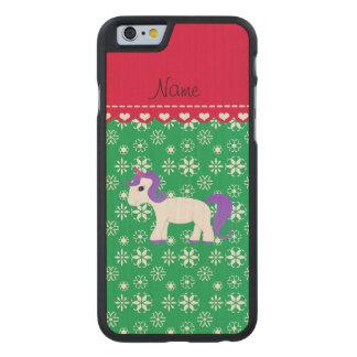 Custom name purple hair unicorn green snowflakes carved® maple iPhone 6 slim case