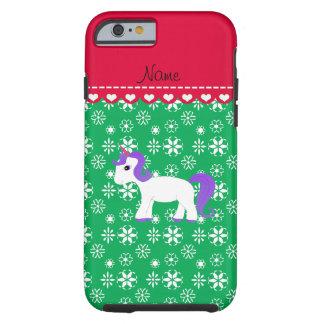 Custom name purple hair unicorn green snowflakes tough iPhone 6 case