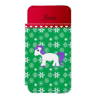Custom name purple hair unicorn green snowflakes incipio watson™ iPhone 5 wallet case