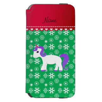 Custom name purple hair unicorn green snowflakes incipio watson™ iPhone 6 wallet case