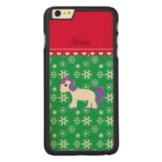 Custom name purple hair unicorn green snowflakes iPhone 6 plus case