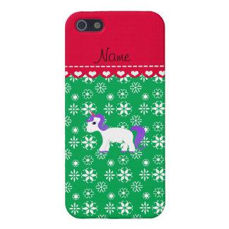Custom name purple hair unicorn green snowflakes iPhone 5 covers