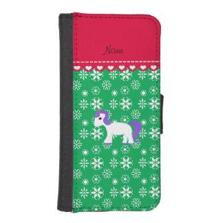 Custom name purple hair unicorn green snowflakes phone wallet