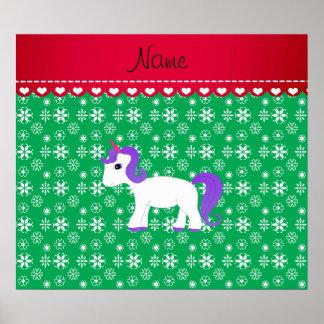 Custom name purple hair unicorn green snowflakes print