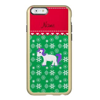 Custom name purple hair unicorn green snowflakes incipio feather® shine iPhone 6 case
