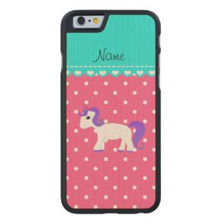 Custom name purple hair unicorn pink tiny dots carved® maple iPhone 6 case