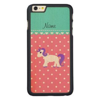 Custom name purple hair unicorn pink tiny dots iPhone 6 plus case