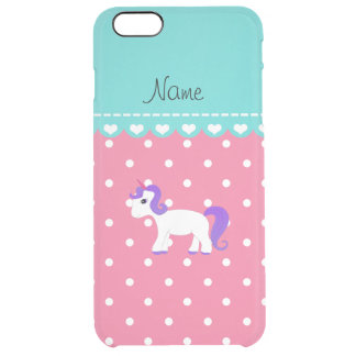 Custom name purple hair unicorn pink tiny dots uncommon clearly™ deflector iPhone 6 plus case