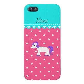 Custom name purple hair unicorn pink tiny dots iPhone 5 covers