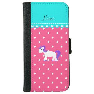Custom name purple hair unicorn pink tiny dots iPhone 6 wallet case