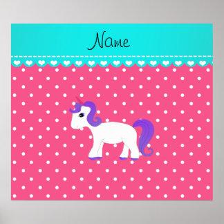 Custom name purple hair unicorn pink tiny dots print