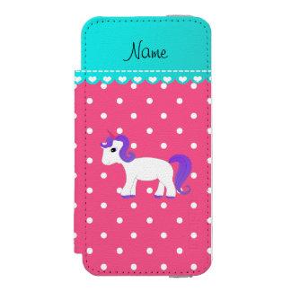 Custom name purple hair unicorn pink tiny dots incipio watson™ iPhone 5 wallet case