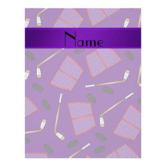 Custom name purple hockey sticks pucks nets 21.5 cm x 28 cm flyer