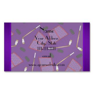 Custom name purple hockey sticks pucks nets magnetic business cards