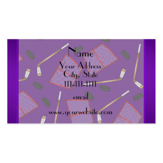 Custom name purple hockey sticks pucks nets pack of standard business cards