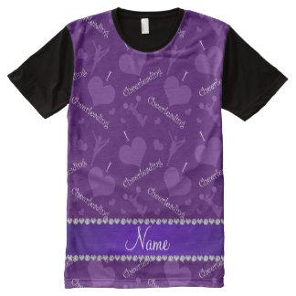 Custom name purple i love cheerleading hearts All-Over print T-Shirt