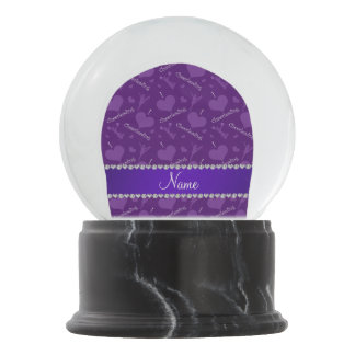 Custom name purple i love cheerleading hearts snow globes