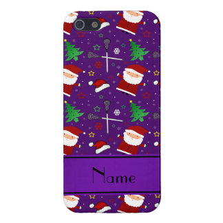 Custom name purple lacrosse christmas pattern case for iPhone 5/5S