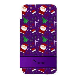 Custom name purple lacrosse christmas pattern incipio watson™ iPhone 5 wallet case