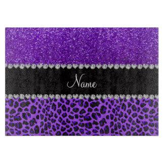 Custom name purple leopard indigo purple glitter cutting board