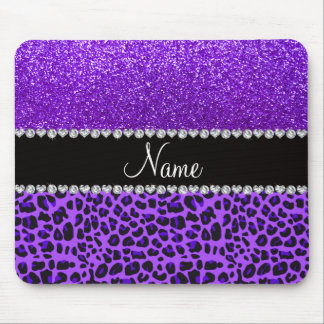 Custom name purple leopard indigo purple glitter mouse mat