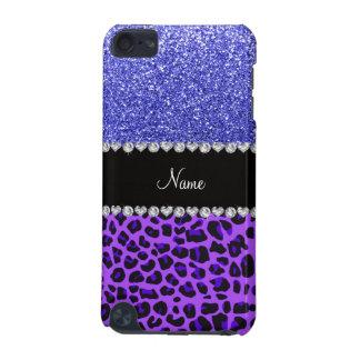 Custom name purple leopard neon blue glitter iPod touch 5G covers