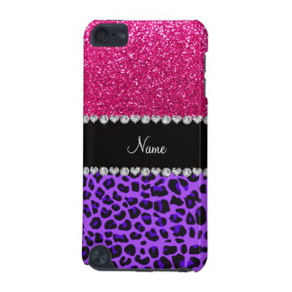 Custom name purple leopard neon hot pink glitter iPod touch 5G case