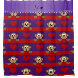Custom name purple monkeys red hearts stripes shower curtain