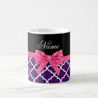 Custom name purple moroccan pattern pink bow coffee mug