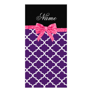 Custom name purple moroccan pattern pink bow photo card template