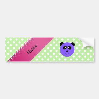 Custom name purple panda face green white dots bumper sticker