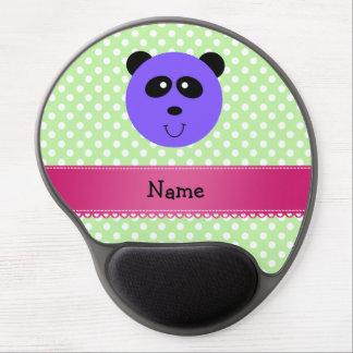 Custom name purple panda face green white dots gel mouse mats