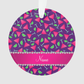 Custom name purple pink cosmos limes ornament