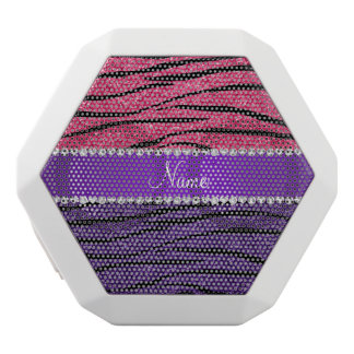 Custom name purple pink glitter zebra stripes