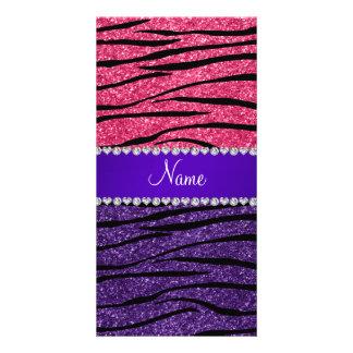 Custom name purple pink glitter zebra stripes photo card template