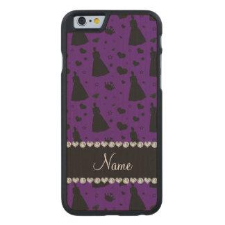 Custom name purple princess hearts stars crown carved® maple iPhone 6 slim case
